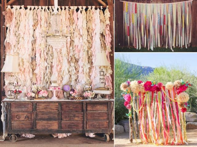 Ribbon Tassle Wedding Backdrop