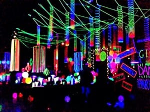 Glow themed party decorations